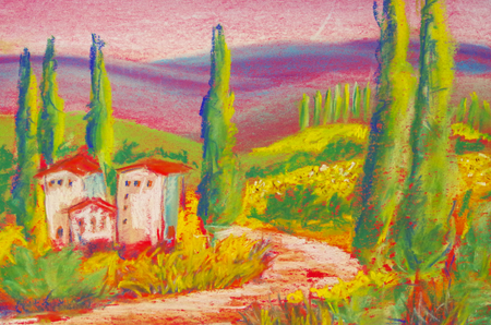 Landscape painted in pastel crayons in Tuscany Standard-Bild - 104701654
