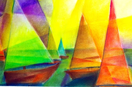 abstract sailboats painted with pastels