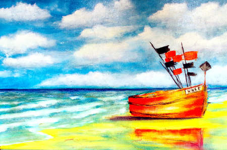 painted fishing boat on the beach