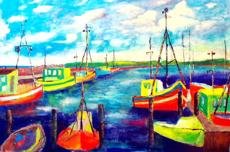 painted harbor of Sassnitz on R?gen Stock Photo