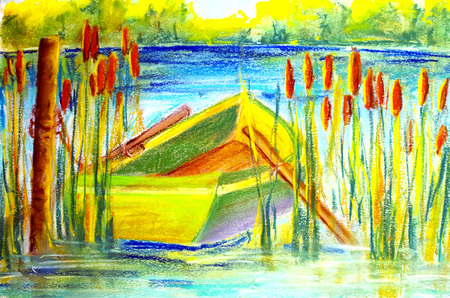 rowboat painted in pastel with chalk in reed Standard-Bild - 112715574