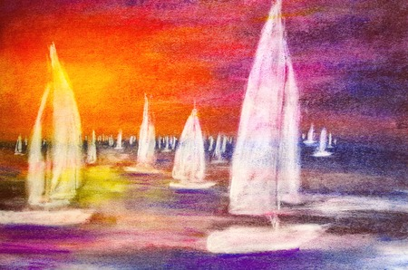 sailboats painted with pastels in the sunset Standard-Bild