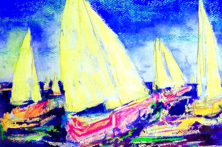 abstract painted sailing regatta Standard-Bild