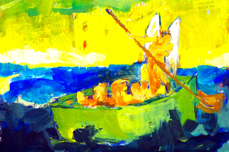 abstract painted boat with refugees with an angel Standard-Bild - 112715577