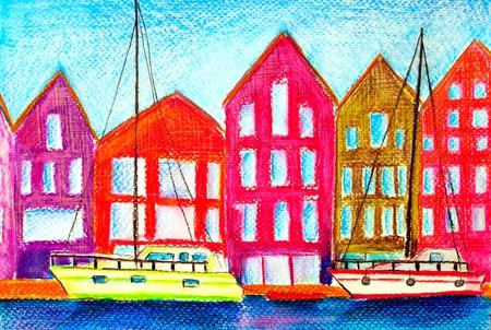 painted marina Standard-Bild