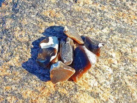 Folded flints on a rock on the Baltic Sea