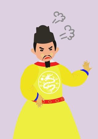 Antiguo rey o emperador chino enojado