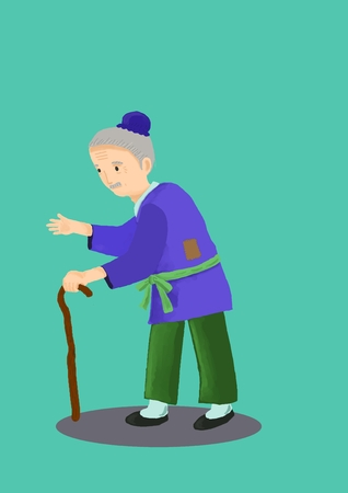 Ancient chinese poor old man with crutch in light blue background Banco de Imagens - 105528379