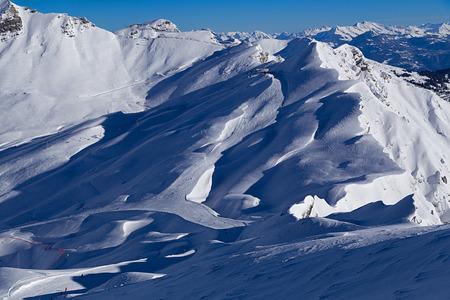 du: View of the Col du Formet, Avoriaz, Portes du Soleil Stock Photo