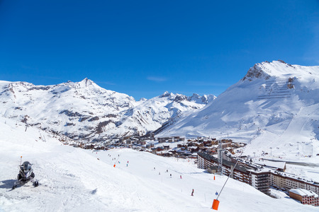 View of Tignes Val Claret, French Alps. Stock Photo
