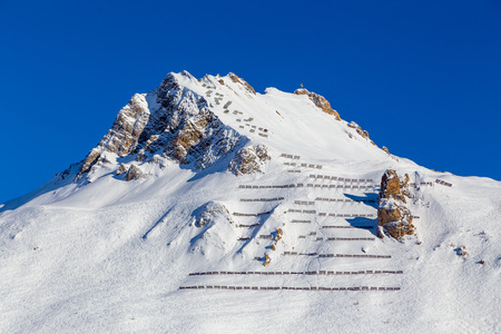 avalanche: Avalanche fences on top mountain, Tignes, France