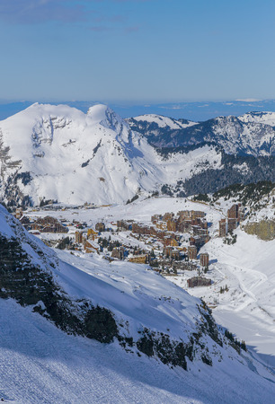 leman: View of the Avoriaz and Lake Leman, Portes du Soleil, French Alps.