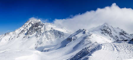 weather front: Weather front passes over the ridge and begins blizzard, France. Stock Photo