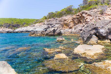 tyrrhenian: Rocky coast of the Tyrrhenian Sea in Sardinia, Italy.