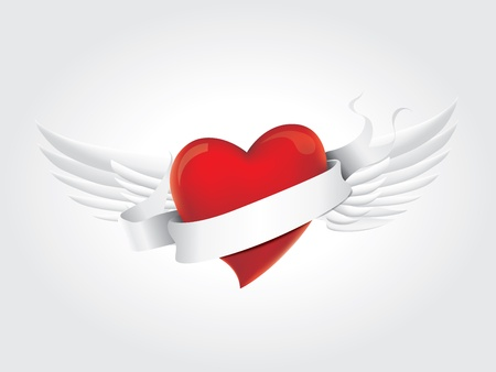 Heart with ribbon and wings Stock Vector - 15442326