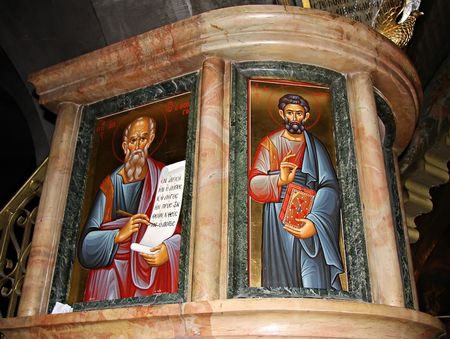 Icons of apostles in Church of the Holy Sepulchre, Jerusalem