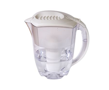 Clear water filter pitcher isolated on white.