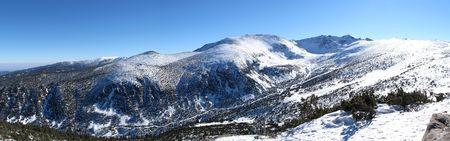 Panorame of winter mountains at alpine ski resort in Bulgary