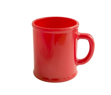 Empty red cup isolated on white