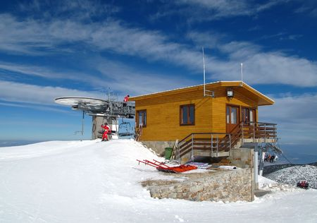 Chair ski lift on alpine ski resort. Rila mountains, Borovets, Bulgaria