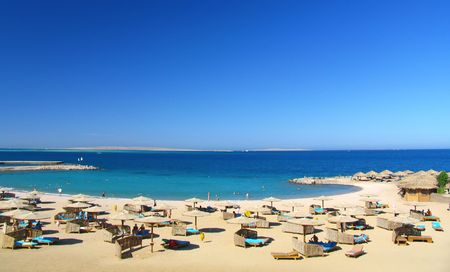 Reefs on Red sea beach resort in Egypt photo