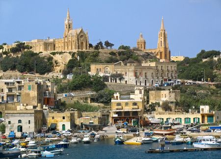 Boats in harbor near Gozo island, Malta