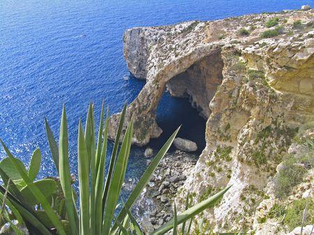 View of  famous Blue Grotto on Malta island 版權商用圖片