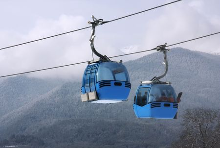 Cable car lift at alpine ski resort Bansko, Bulgaria Stock Photo