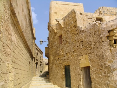 Narrow medieval street in the citadel of Gozo, Malta