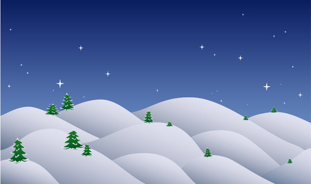 winter wonderland: Christmas night and snow hilly landscape with christmas trees