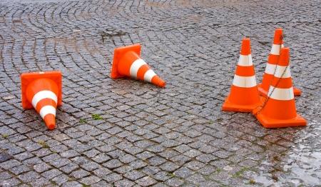 Safety Traffic Cones on granite pavement