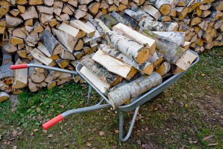 Garden Wheelbarrow with Chopped birch fire wood Stock Photo