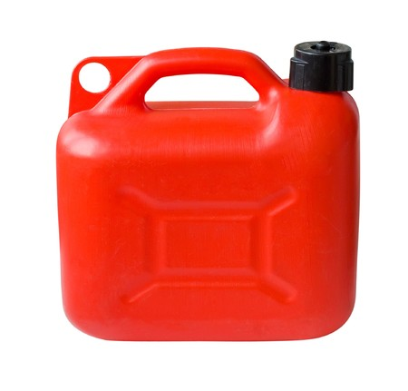 petrol can: Red Plastic Gas can (fuel container) isolated with clipping path