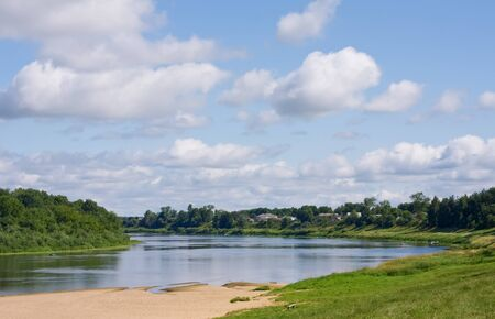 River landscape. Western dvina (Daugava), Verkhnedvinsk, Belorussia photo