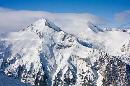 Panorama of winter mountains. Alpine ski resort Bansko, Bulgaria 版權商用圖片
