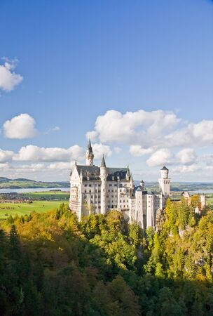 Famous Neuschwanstein castle in Germany, Bavaria, built by King Ludwig II in 19th-century