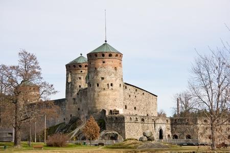 Famous Medieval Olavinlinna stone castle in Savonlinna, Finland Stock Photo