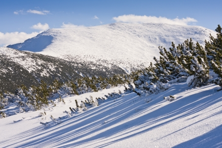 Panorama of winter mountains. Alpine ski resort Borovets, Bulgaria