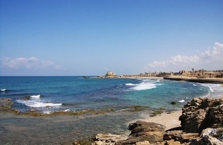 Mediterranean sea coastline and Old City in Acre  Akko, Israel photo
