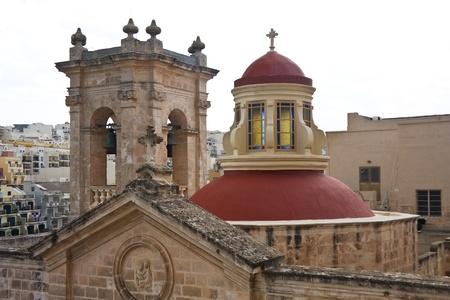Dome of Maltese Church at Mellieha village Stock Photo