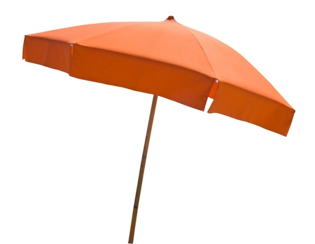 beach umbrella: Orange beach umbrella isolated on white with clipping path Stock Photo