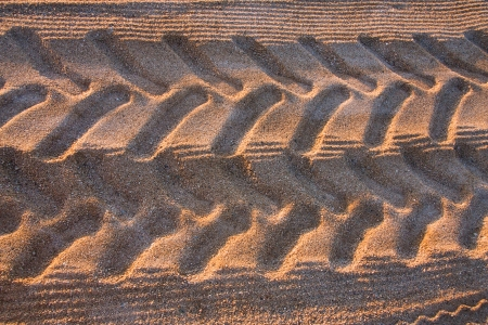 Tyre tracks on the tropical beach. Spain, Costa Brava Stock Photo - 23121633