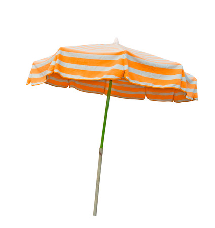 beach umbrella: Orange and gray striped beach umbrella isolated on white with clipping path