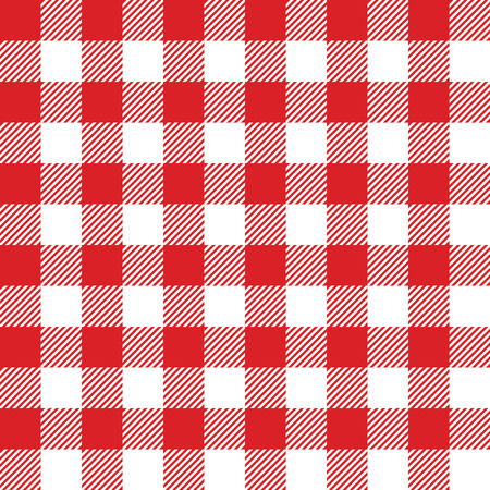 Seamless checked red and white pattern  Vector illustration