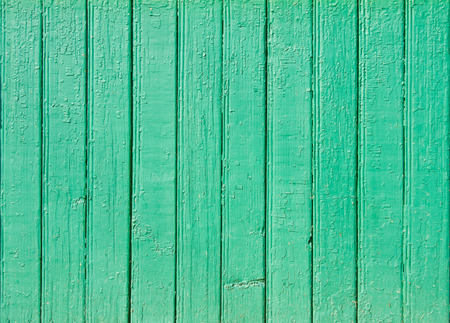 Old green painted wooden plank background. Close up