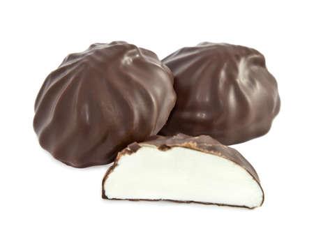 Dessert Souffle  in chocolate  marshmallow isolated on white 版權商用圖片