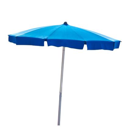 Blauwe parasol die op wit met het knippen van weg Stockfoto