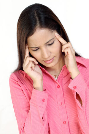 problem health: Indian woman suffering with headache