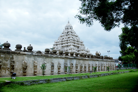 pallava: kailasanathar temple in Kanchipuram , Tamil Nadu, India  Stock Photo