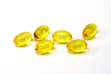 Close up of cod liver oil pills  Stock Photo